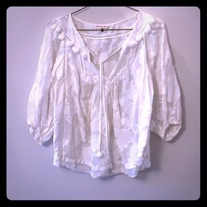 White Rebecca Taylor summer peasant blouse